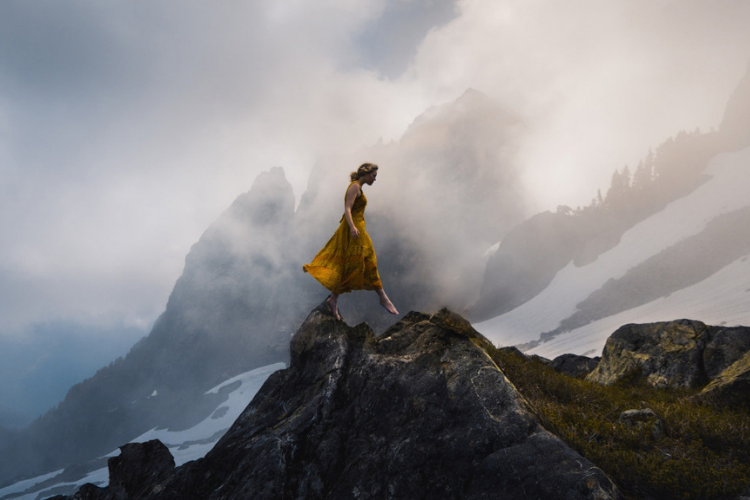 крок, гора, дівчина, шаг