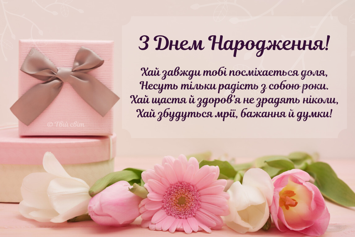 вітання з днем народження українською, листівка