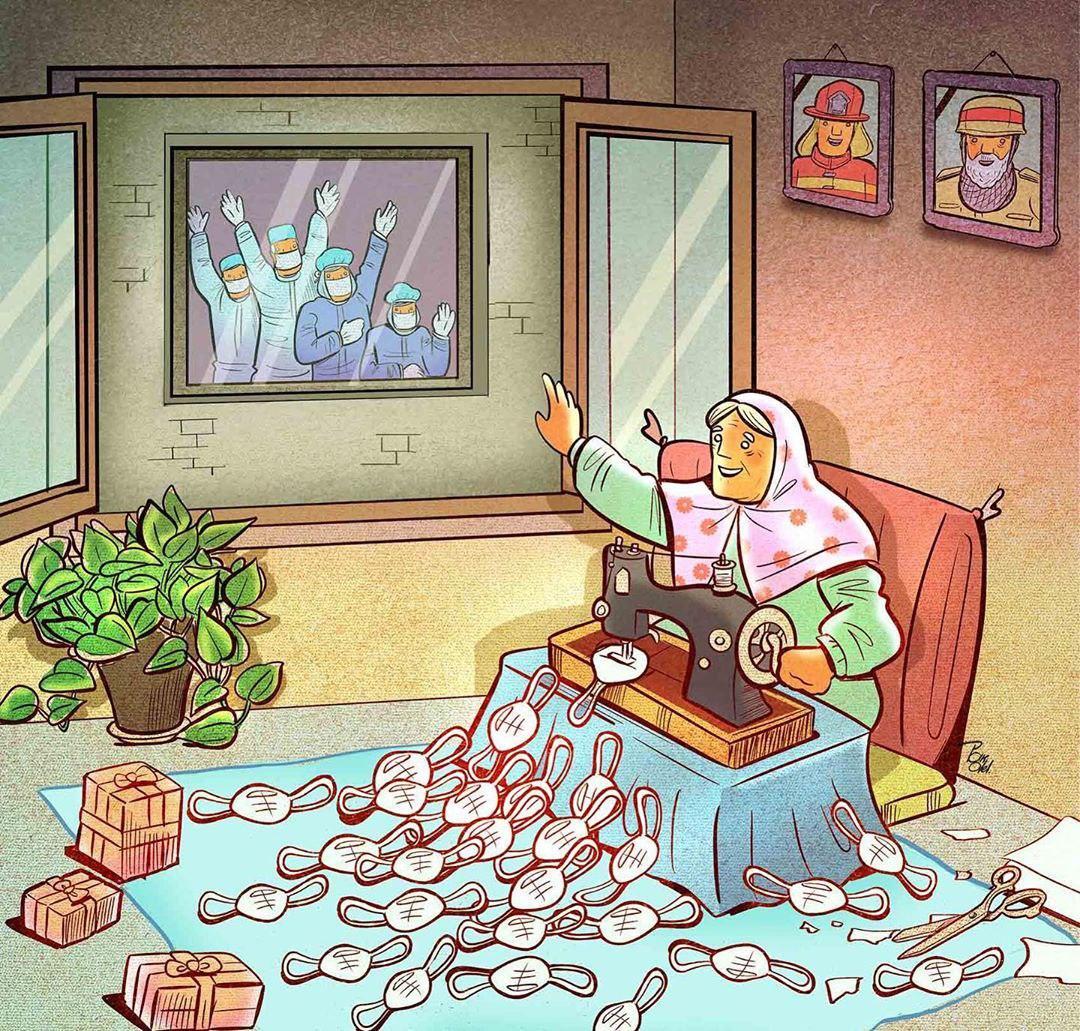 photo 2020 04 09 08 34 12 - Иранский художник изобразил отчаянную борьбу медиков из коронавируса