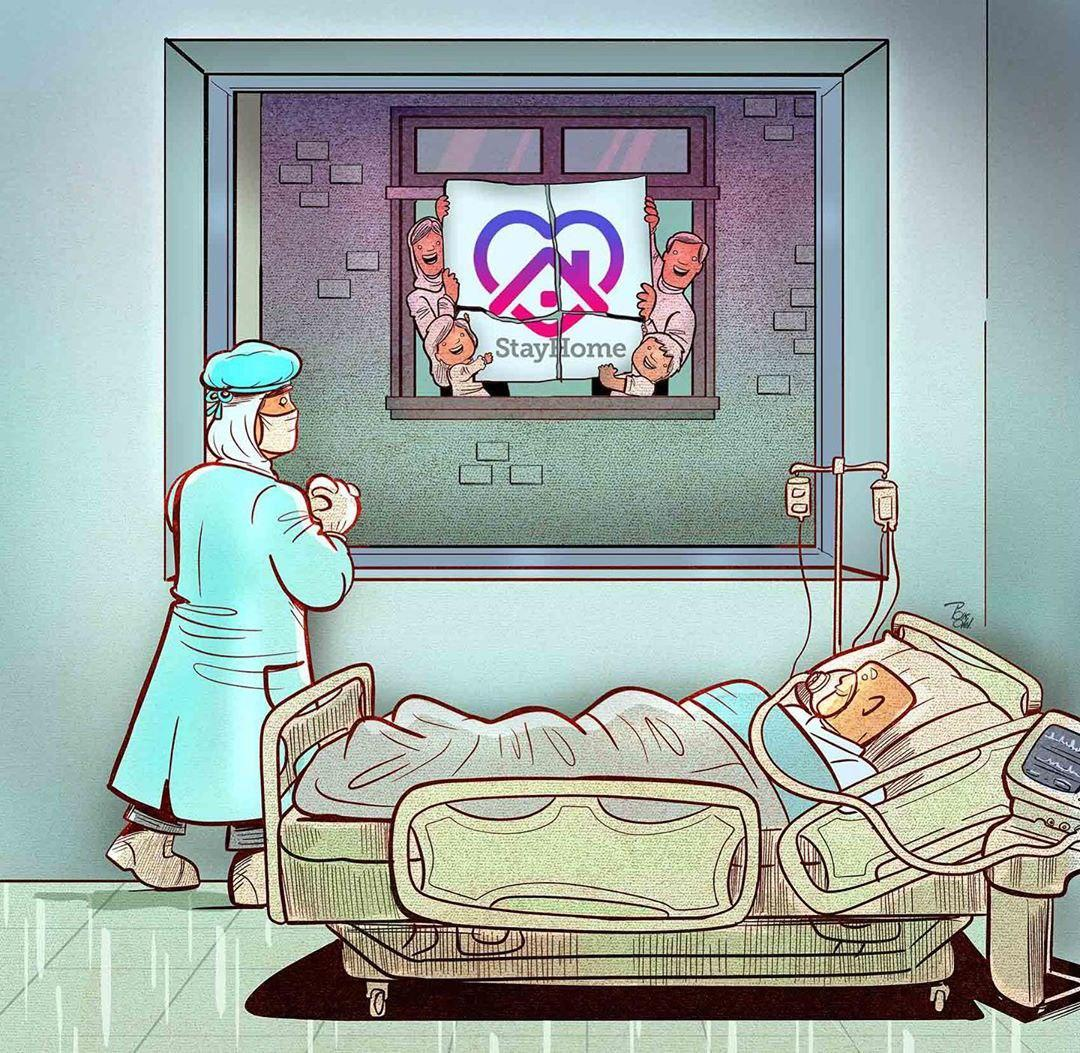 photo 2020 04 09 08 35 14 - Иранский художник изобразил отчаянную борьбу медиков из коронавируса