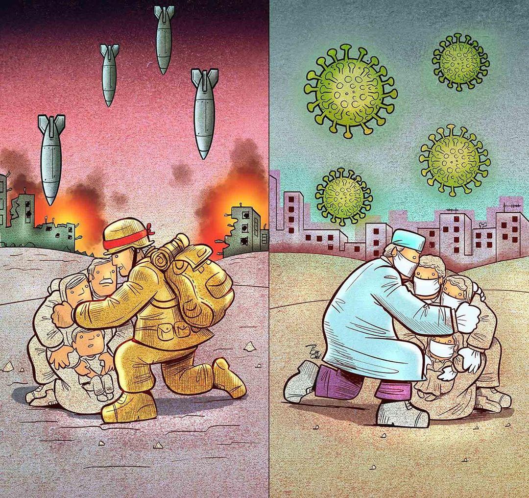 photo 2020 04 09 08 36 05 - Иранский художник изобразил отчаянную борьбу медиков из коронавируса