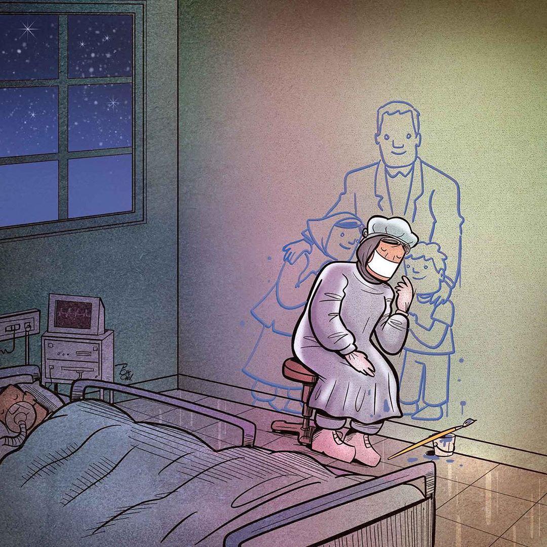 photo 2020 04 09 08 36 33 - Иранский художник изобразил отчаянную борьбу медиков из коронавируса