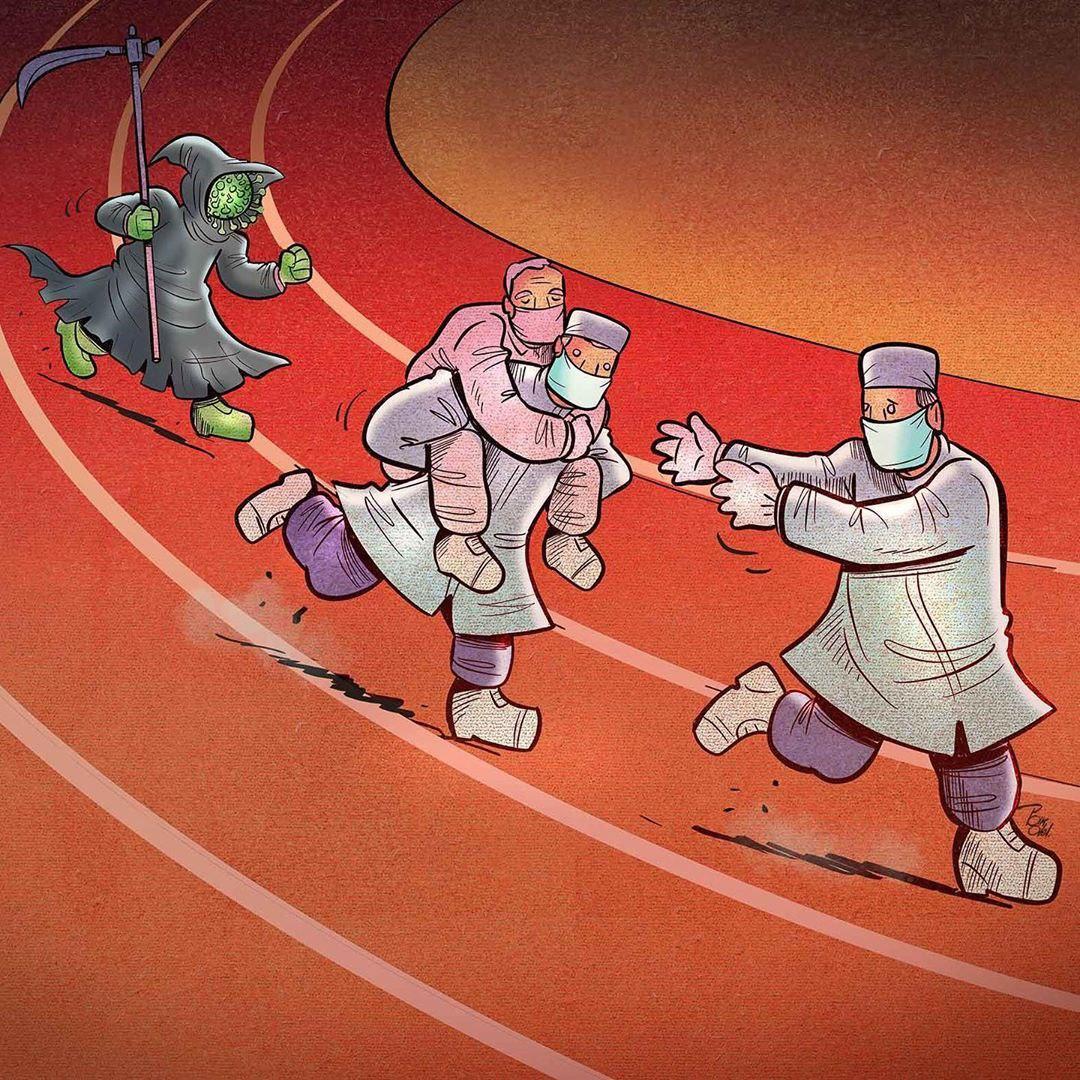 photo 2020 04 09 08 36 47 - Иранский художник изобразил отчаянную борьбу медиков из коронавируса