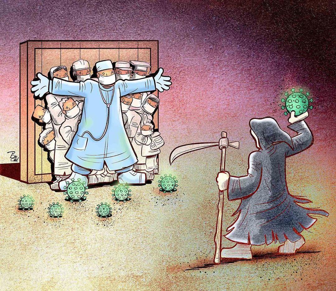 photo 2020 04 09 08 37 00 - Иранский художник изобразил отчаянную борьбу медиков из коронавируса