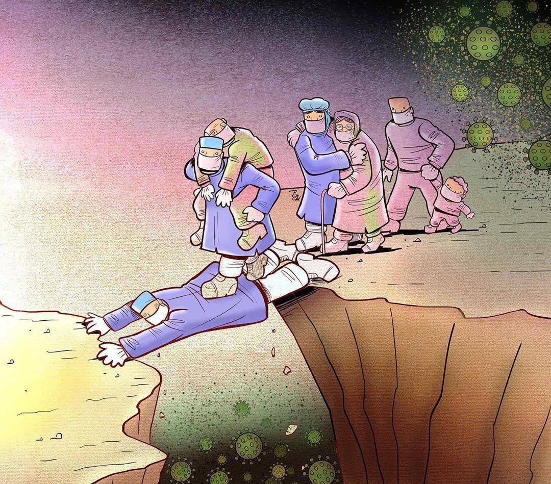 photo 2020 04 09 08 37 10 - Иранский художник изобразил отчаянную борьбу медиков из коронавируса