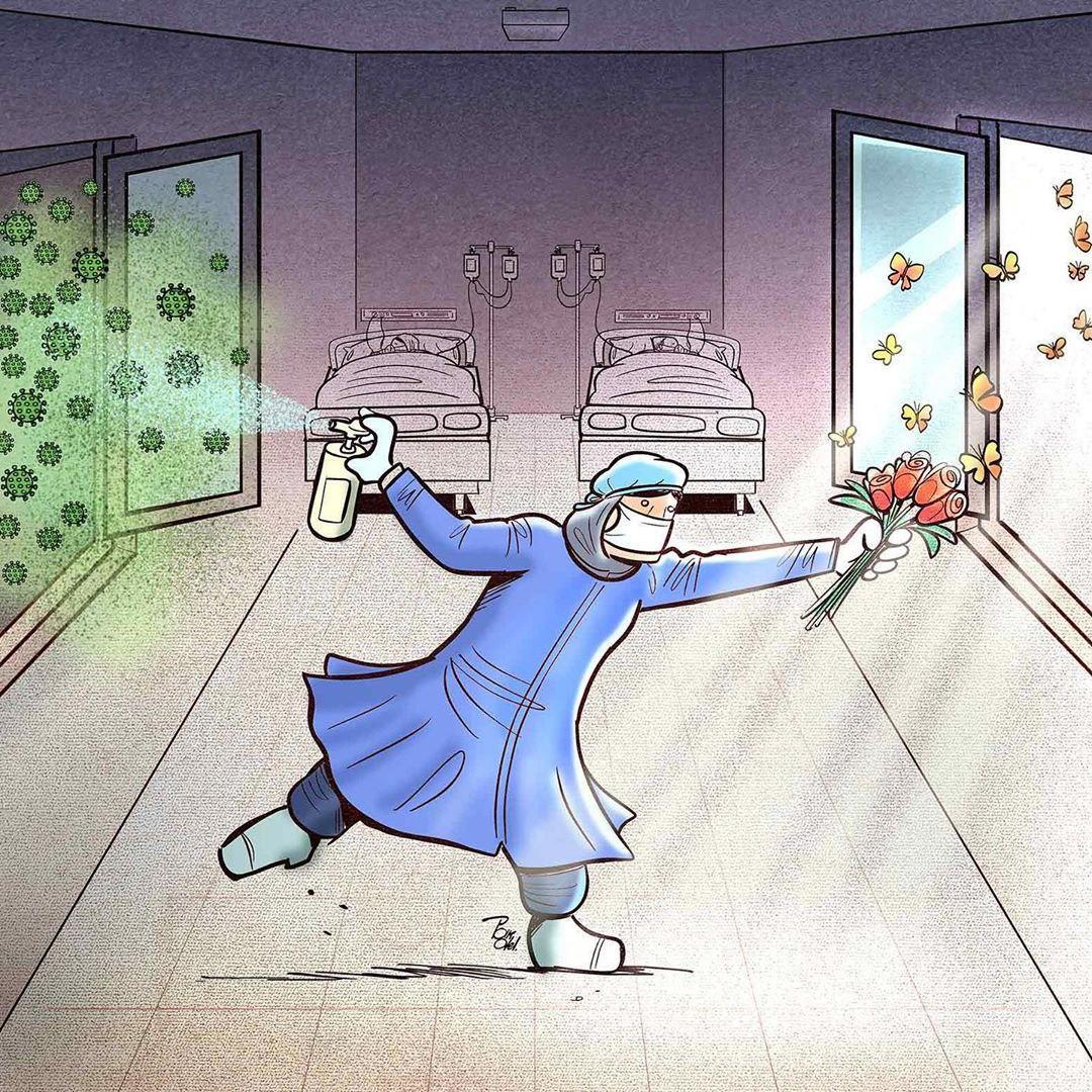 photo 2020 04 09 08 37 25 - Иранский художник изобразил отчаянную борьбу медиков из коронавируса