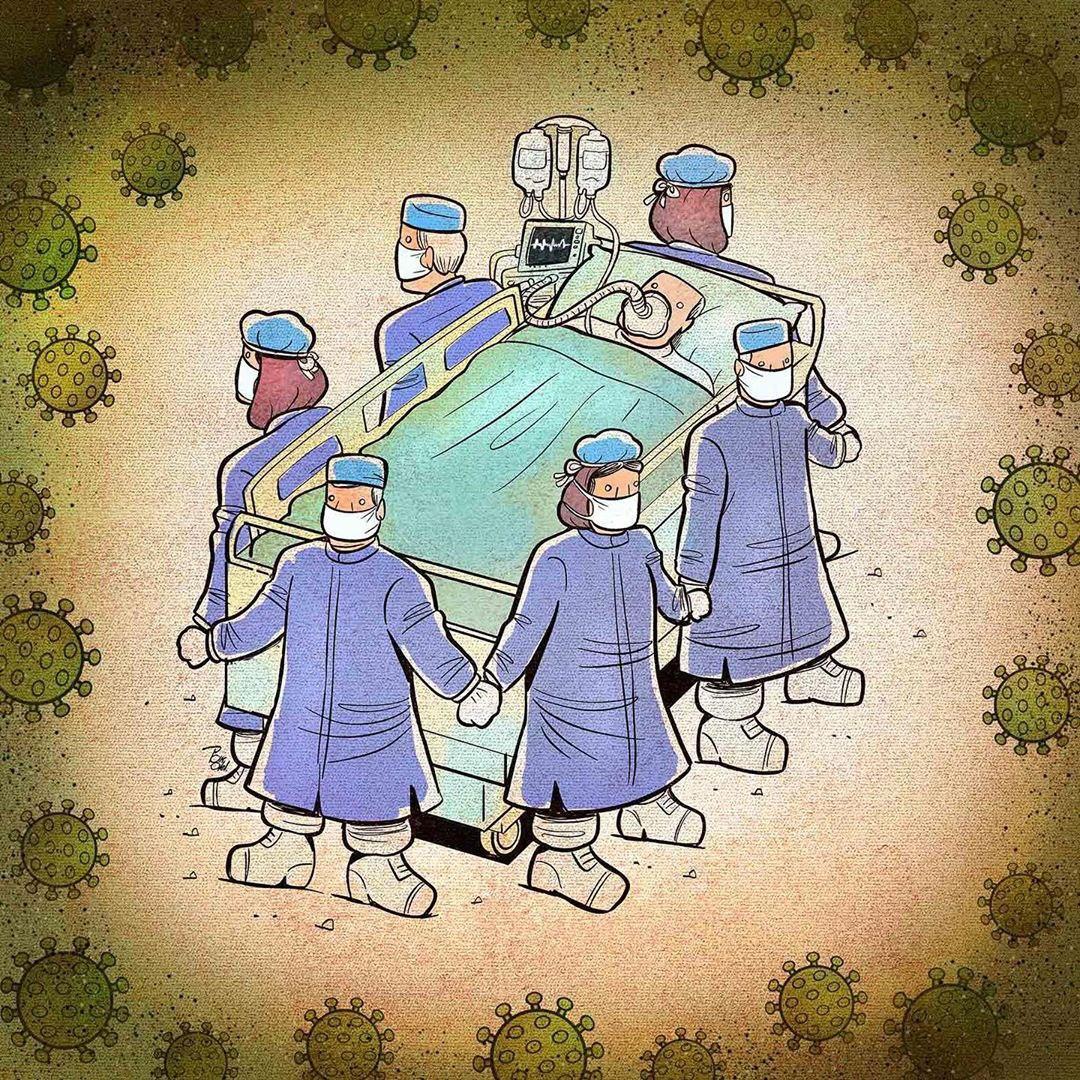photo 2020 04 09 08 37 42 - Иранский художник изобразил отчаянную борьбу медиков из коронавируса