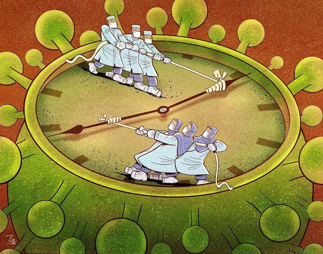 photo 2020 04 09 08 38 24 - Иранский художник изобразил отчаянную борьбу медиков из коронавируса