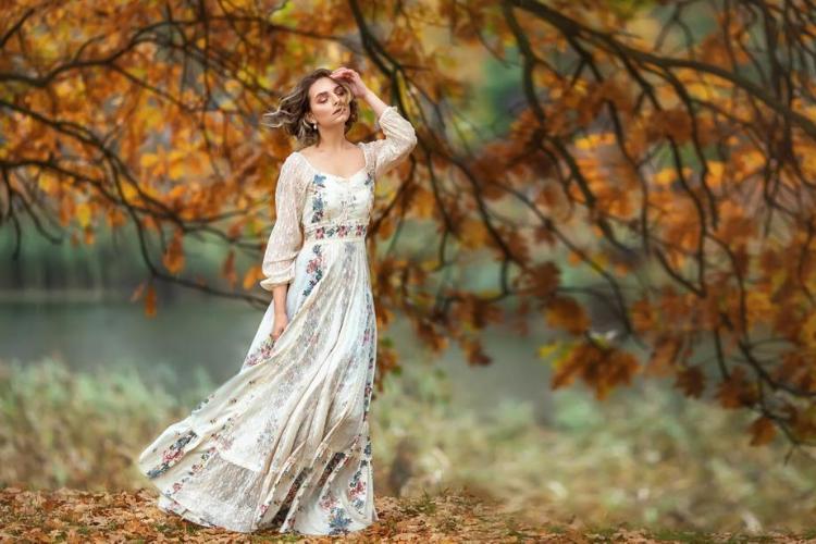 дівчина, осінь, ліс